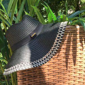 Bebe Black Weaved Sun Hat